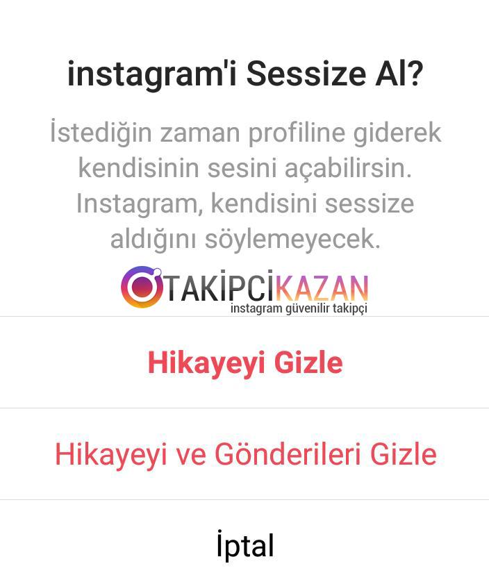 instagram hikayeleri sessize alma