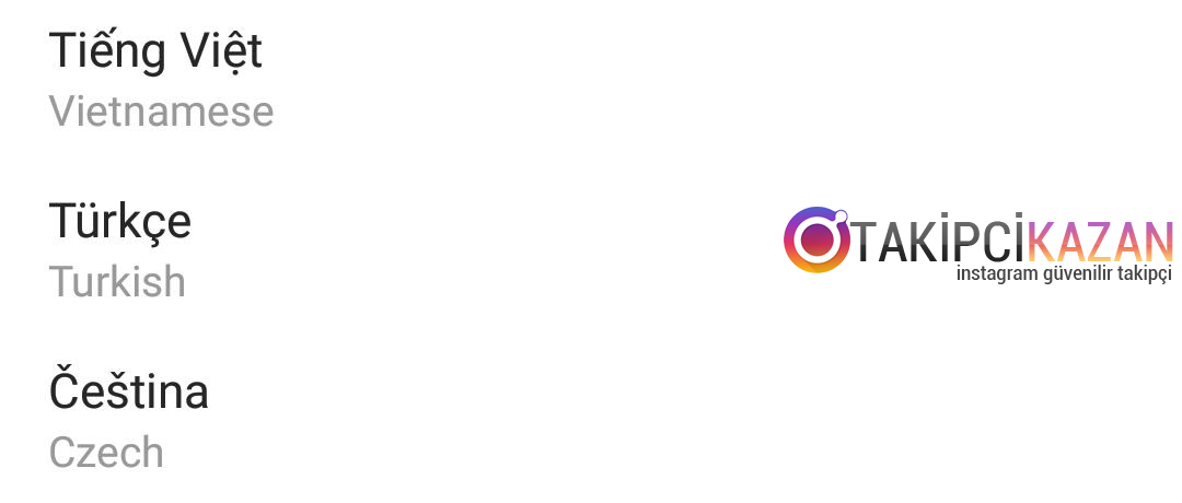 instagram dil değiştirme