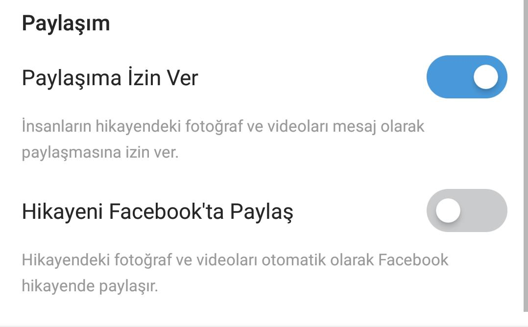 instagram hikayelerini facebookta paylaşma