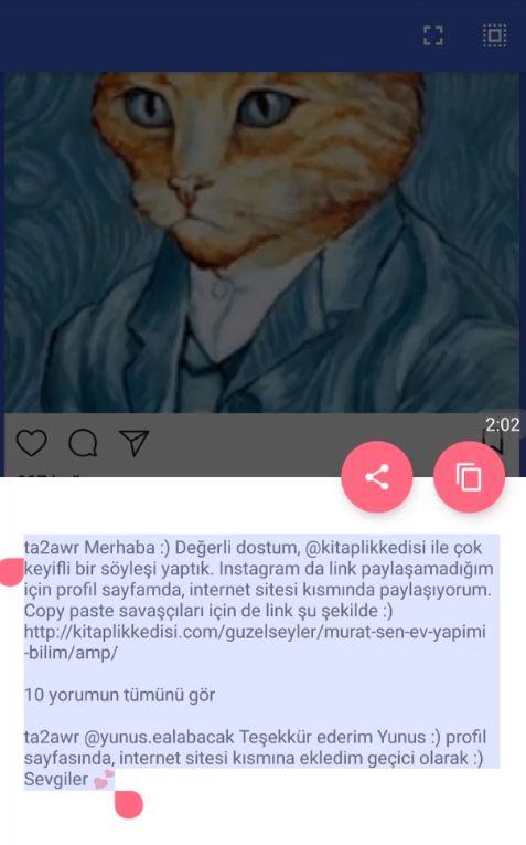instagram yorumları kopyalama