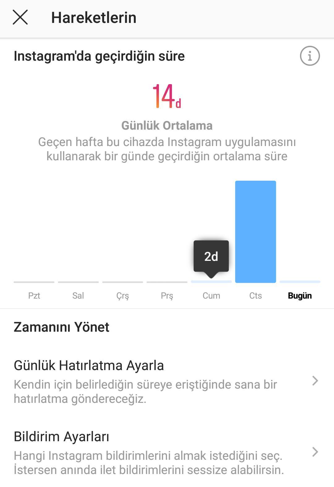 instagram zaman limiti